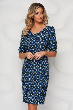 Kék StarShinerS bő ujjú midi ceruza ruha grafikai díszítéssel