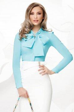Türkizzöld irodai szűk szabású női ing enyhén elasztikus pamut masni alakú kiegészítővel