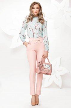 Világos rózsaszínű elegáns magas derekú zsebes kónikus nadrág