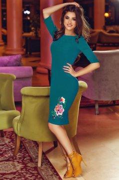Türkizzöld hímzett StarShinerS midi ceruza ruha enyhén rugalmas anyagból