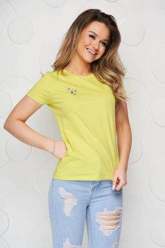 Sárga StarShinerS pamutból készült bő szabású póló virágos hímzéssel