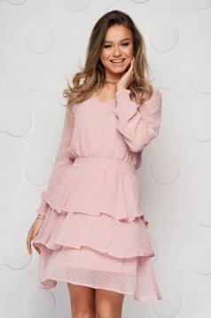 Púder rózsaszínű ruha rövid harang muszlinból