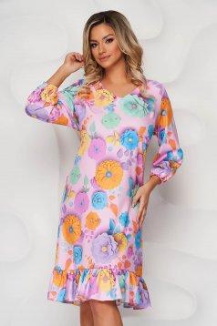Púder rózsaszínű StarShinerS virágmintás egyenes fodros ruha