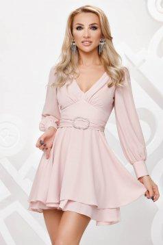 Világos rózsaszínű rövid bő ujjú alkalmi muszlin harang ruha