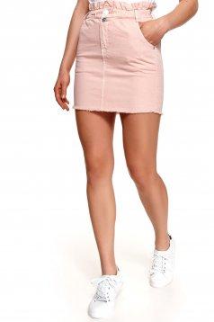 Pink magas derekú zsebes rövid ceruza szoknya