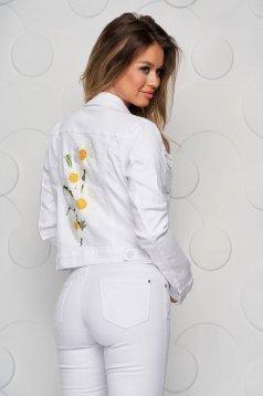 Fehér szűkített rövid hímzett farmer dzseki