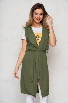 Khaki zöld casual mellény övvel ellátva rugalmatlan anyagból