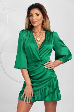 Zöld fodros ruha szaténból rövid alkalmi