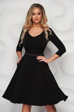 Fekete StarShinerS irodai ruha enyhén rugalmas anyagból harang típusú öv kiegészítővel