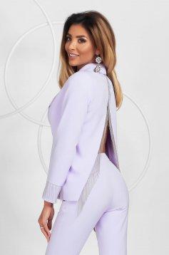 Elegáns lila bő szabású rojtos blézer szivacsos vállrésszel