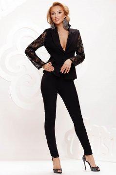 Fekete női kosztüm csipke ujj elegáns karcsusított szabású