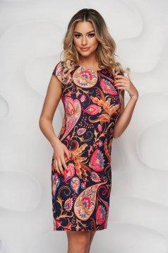 StarShinerS virágmintás midi irodai ruha enyhén rugalmas anyagból