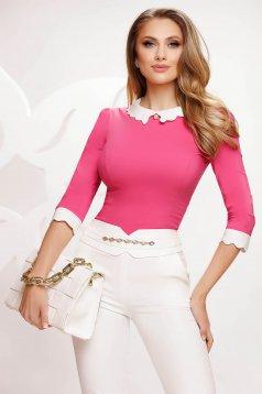 Pink elegáns pamutból készült szűkített női ing bross kiegészítővel