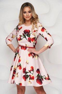 StarShinerS virágmintás deréktól bővülő ruha háromnegyedes ujjakkal és szintetikus bőr övvel ellátva