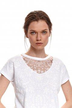 Fehér póló pamutból készült casual bő szabású