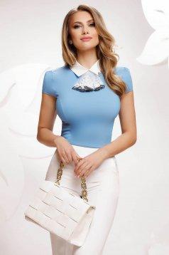 Kék irodai pamutból készült szűkített női ing