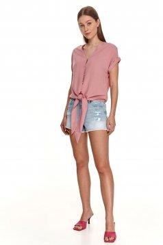 Pink női ing bő szabású v-dekoltázzsal