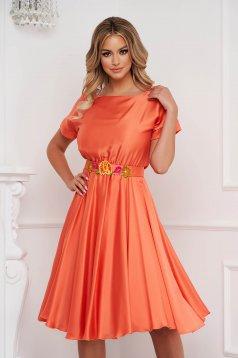 Narancssárga StarShinerS ruha aszimetrikus virágos hímzés alkalmi szatén anyagból