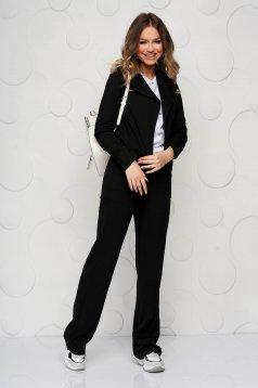 Fekete StarShinerS zsebes bő szabású casual nadrág