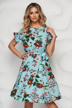 StarShinerS elegáns virágmintás midi harang alakú ruha gumirozott derékrésszel