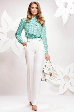Fehér elegáns kónikus magas derekú nadrág vékony anyagból