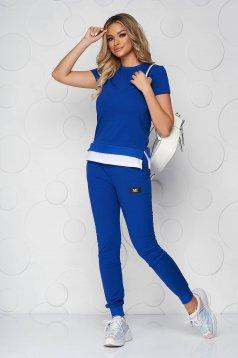 Kék casual kétrészes pamutból készült sportos szett nadrággal