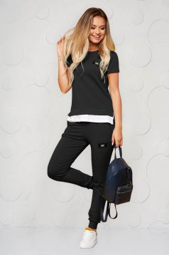 Fekete casual kétrészes pamutból készült sportos szett nadrággal