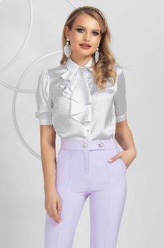 Ivoire elegáns pöttyös női ing szaténból bross kiegészítővel