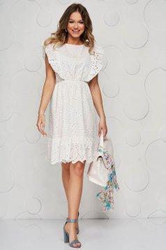 Fehér ruha horgolt csipke harang alakú gumirozott derékrésszel rövid