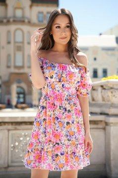 Pink virágmintás ejtett vállú fodros harang ruha