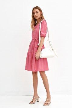 Pink pamutból készült bő szabású midi ruha eltávolítható övvel