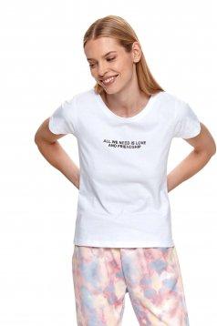 Fehér bő szabású póló grafikai díszítéssel enyhén elasztikus pamutból