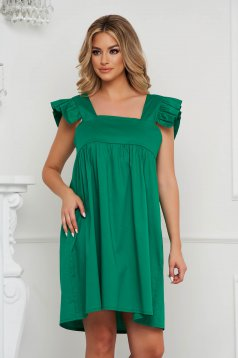 Zöld bő szabású fodros ruha mély dekoltázzsal