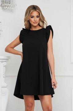 Fekete rövid ujjú bő szabású rövid fodros ruha