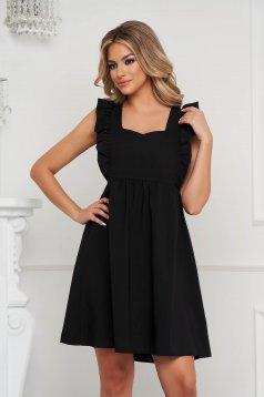 Fekete a-vonalú fodros rövid ruha