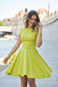 Sárga StarShinerS rövid harang ruha enyhén rugalmas anyagból kivágott hátrésszel