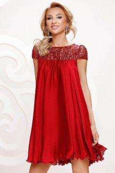 Alkalmi bő szabású rövid muszlin burgundy ruha csipke díszítéssel