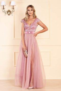 Világos rózsaszínű alkalmi lábon sliccelt harang ruha tüllből flitteres díszítéssel