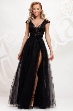Fekete alkalmi lábon sliccelt harang ruha tüllből flitteres díszítéssel