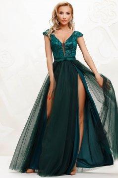 Sötétzöld alkalmi lábon sliccelt harang ruha tüllből flitteres díszítéssel