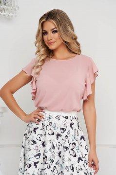 Világos rózsaszínű StarShinerS elegáns bő szabású fodros muszlin női blúz