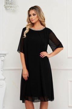 Elegáns bő szabású fekete midi muszlin ruha strassz köves díszítés