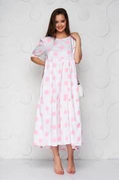 Pink ruha pöttyös bő szabású fodros vékony anyagból