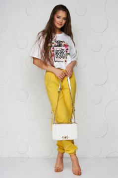 Sárga magas derekú zsebes kónikus nadrág vékony anyagból