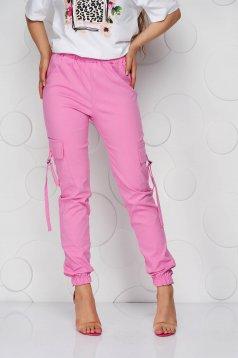 Pink magas derekú zsebes kónikus nadrág vékony anyag