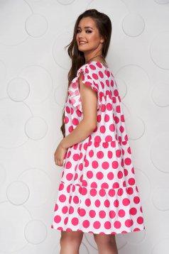 Pink bő szabású fodros rövid pöttyös ruha vékony szövetből