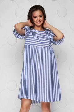 Kék bő szabású midi csíkos ruha pamutból