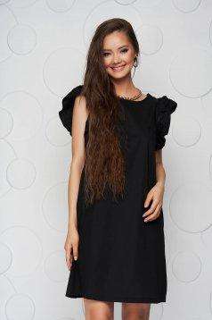 Fekete ruha a-vonalú fodros masni a hátoldalon