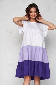 Lila ruha vékony anyag bő szabású midi fodros vékony anyagból