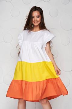 Sárga ruha vékony anyag bő szabású midi fodros vékony anyagból